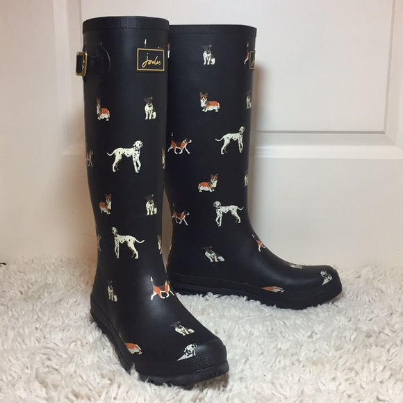 joules shoes | dog print welly rain boots size 9 | poshmark
